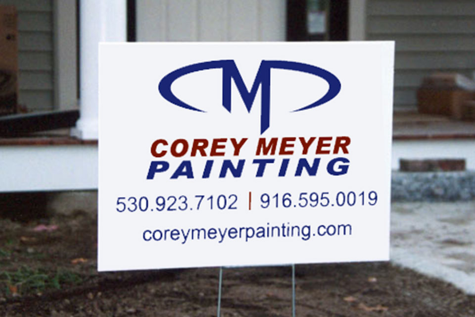 Logo design for Corey Meyer Painting. Designed by Infusion Design Group of Roseville, CA.