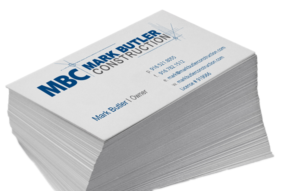 Business card design for Mark Butler Construction by Infusion Design Group of Roseville, CA.