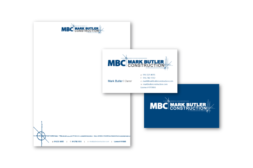 Collateral design for Mark Butler Construction by Infusion Design Group of Roseville, CA.